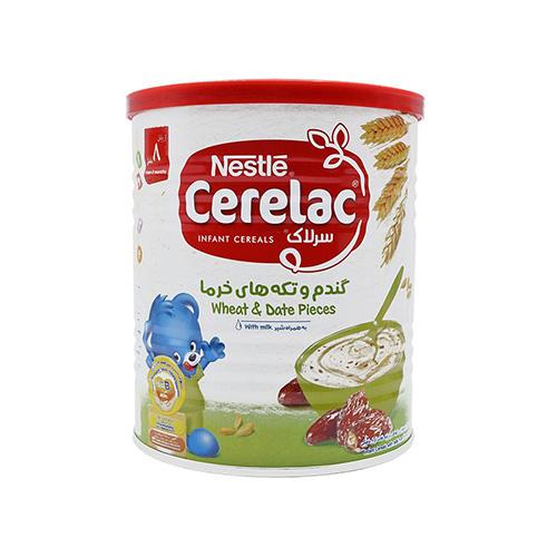 سرلاک گندم و تکه های خرما به همراه شیر
