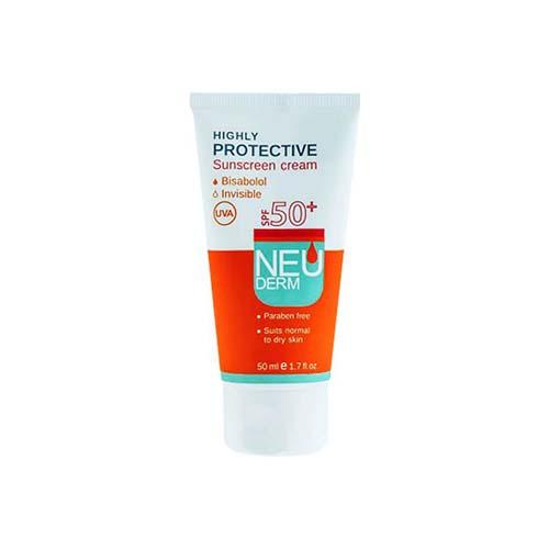 کرم ضد آفتاب SPF50 نئودرم فاقد رنگ مناسب پوست نرمال تا خشک