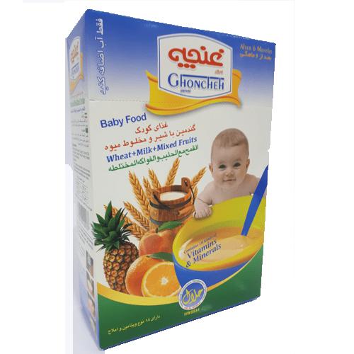 غذای کودک گندمین با شیر ومخلوط میوه غنچه