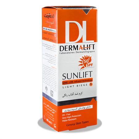 کرم ضد آفتاب رنگی درمالیفت مدل Sunlift SPF50 بژ روشن